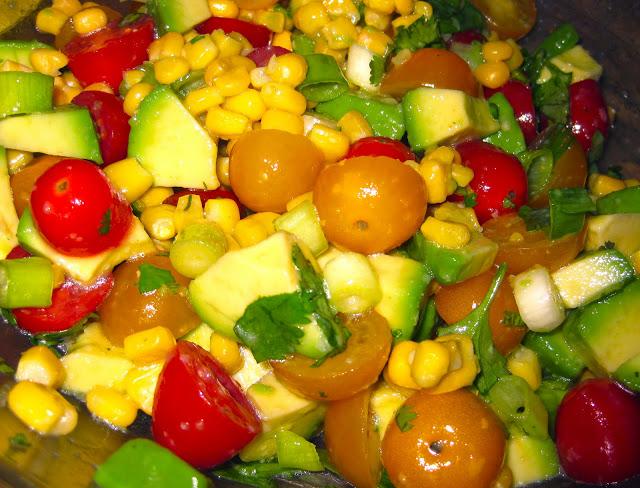 Avocado, Tomato, Corn, Cilantro Salad