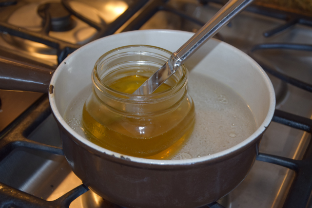 melted lotion stir