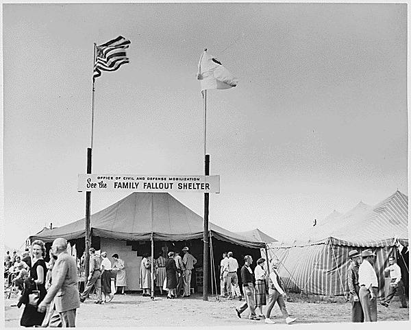 Photograph of the Office of Civil and Defense Mobilization exhibit at a local civil defense fair. ca. 1960