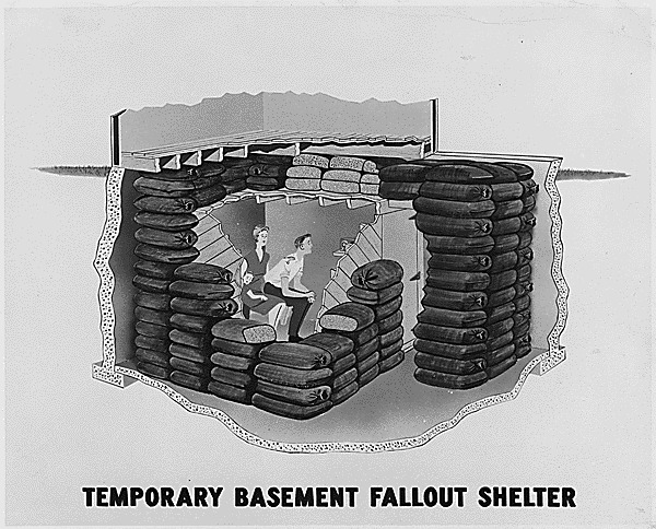 An artist's rendition of a temporary basement fallout shelter, ca.1957.