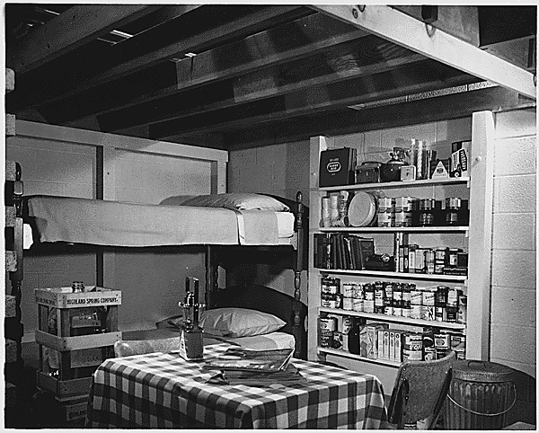 Photograph of a basement family fallout shelter 1960s
