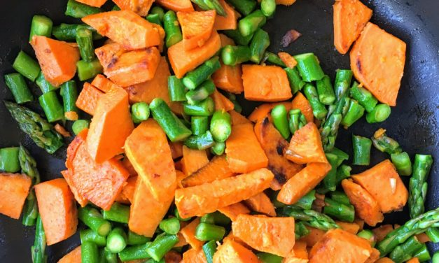 Roasted Sweet Potatoes and Asparagus