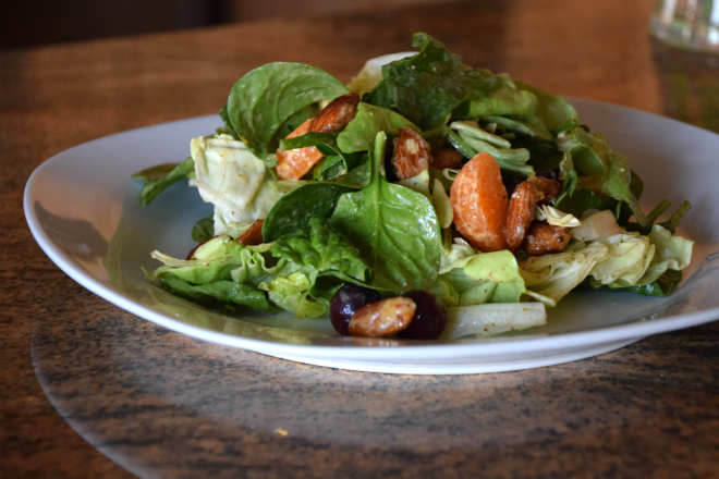 Spinach Salad with candied almonds