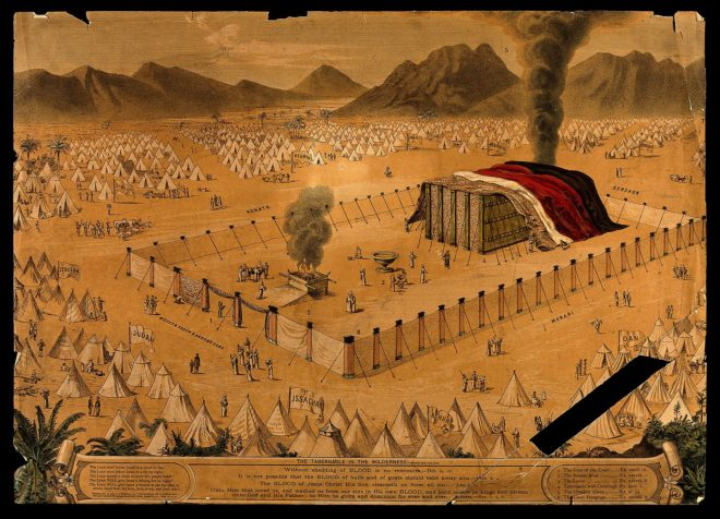 a_sacrifice_taking_place_in_the_tabernacle_in_the_wilderness_wellcome_v0034390