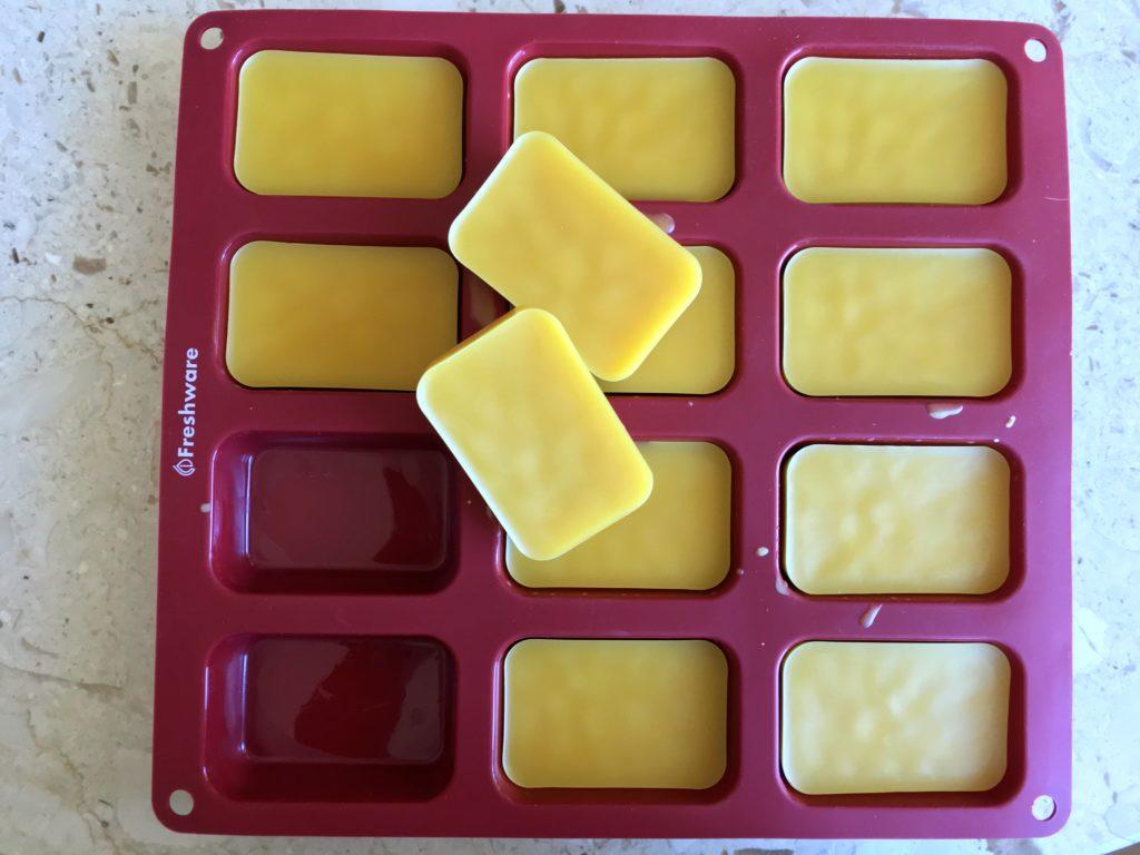 molded beeswax bars DIY