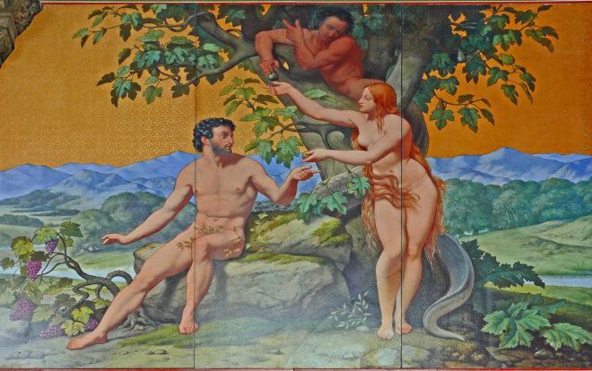 Eglise Saint Vincent De Paul   Décor Façade   Adam Et Eve E1479172259944