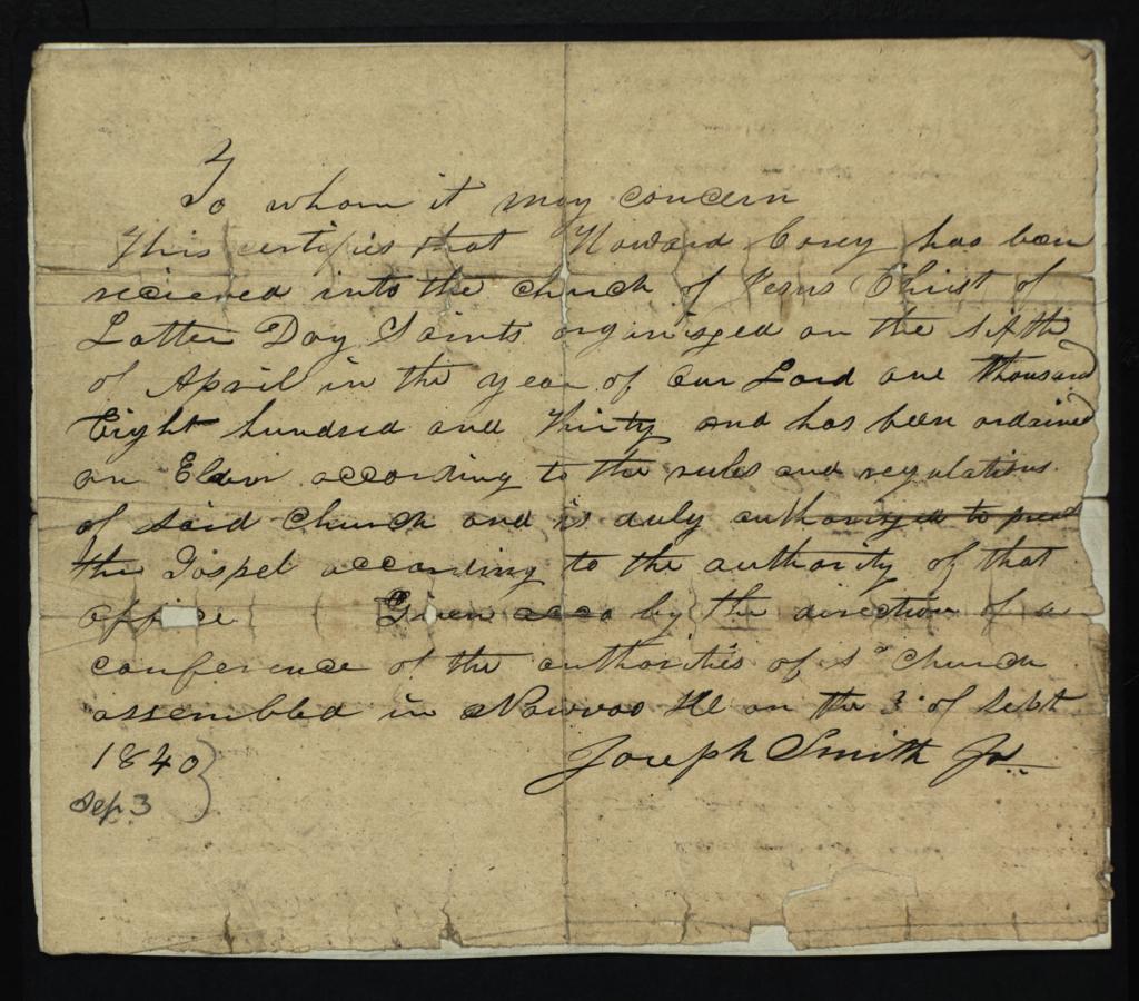 Howard Coray License from Joseph Smith